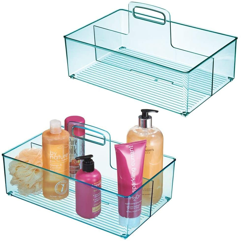 mDesign Plastic Storage Organizer Container Tote Bin with Handle - for Bathroom, Shower; Holds Shampoo, Conditioner, Body Wash, Lotions - Divided, 2 Sections - 2 Pack - Blue Tint