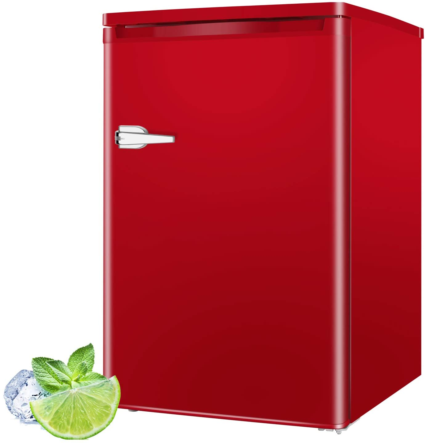 RMYHOME 3.0 Cu.ft Compact Upright Freezer, Deep Chest Freezer with Single Door and Shelves, Adjustable Leveling legs, Cold Storage of Food & Beverage for Home, Office, Dormitory, Apartment, Red