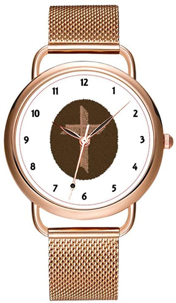 Christmas Women Quartz Watch Fashion Casual Ladies Watch Decorous Elegant Design Female Quartz Rose Gold Watch Brown Swirls Cross Watch