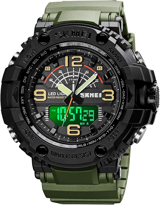 Men's Military Analog Digital Watch 50M Waterproof LED Outdoor Sports Stopwatch Running Wristwatch Three Timezone