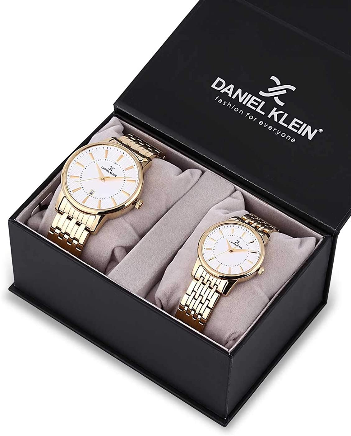 Daniel Klein His and Her Wrist Watch Set (DK12240-3) - Stainless Steel - 33mm Analog Mens and Womens Watches - Japanese Quartz Movement - Couples Set, Men & Women, Anniversary, Engagement - Gold Tone