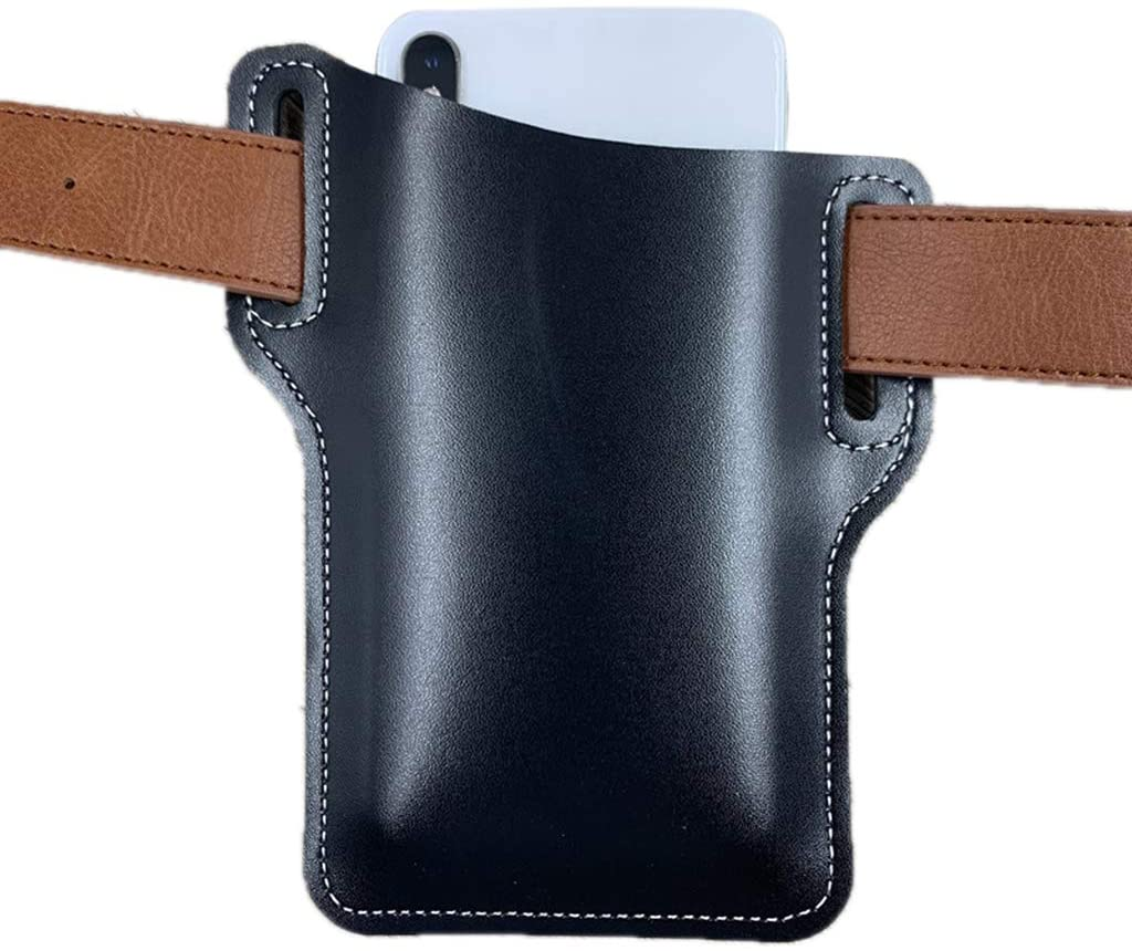 QINREN Artificial Leather Mobile Phone Carrier Belt Pouch Cellphone Holster Waist Bag,Black,Pu Leather