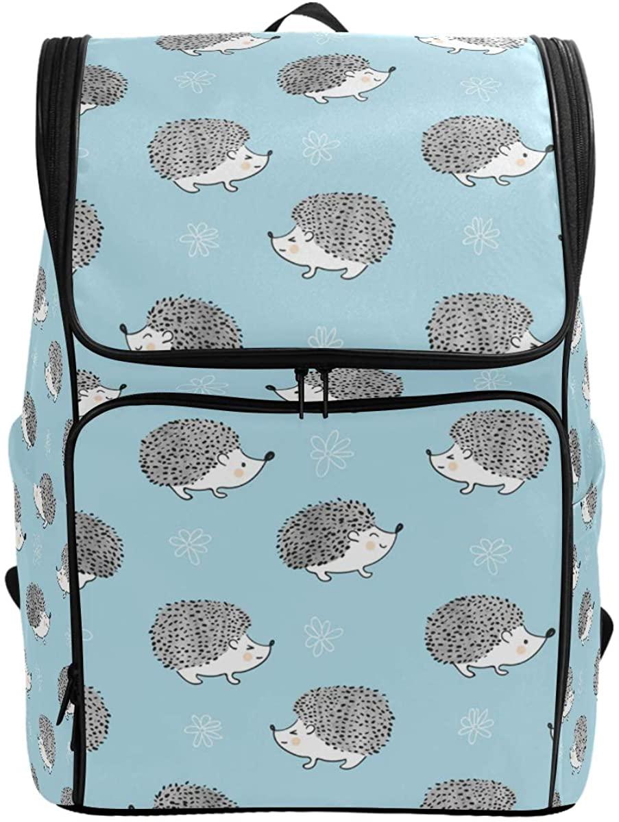 Kaariok Cute Hedgehogs Animal Floral Backpack Bookbags College Laptop Daypack Travel School Hiking Bag for Womens Mens