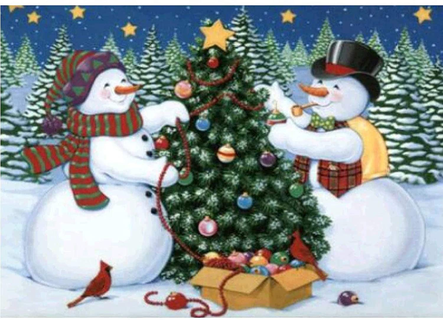 Full Drill Diamond Painting by Number Kits, BENBO 5D DIY Snowman Christmas Tree Round Crystal Rhinestone Embroidery Cross Stitch Arts Craft for Home Wall Decor (11.8In X 15.8In)