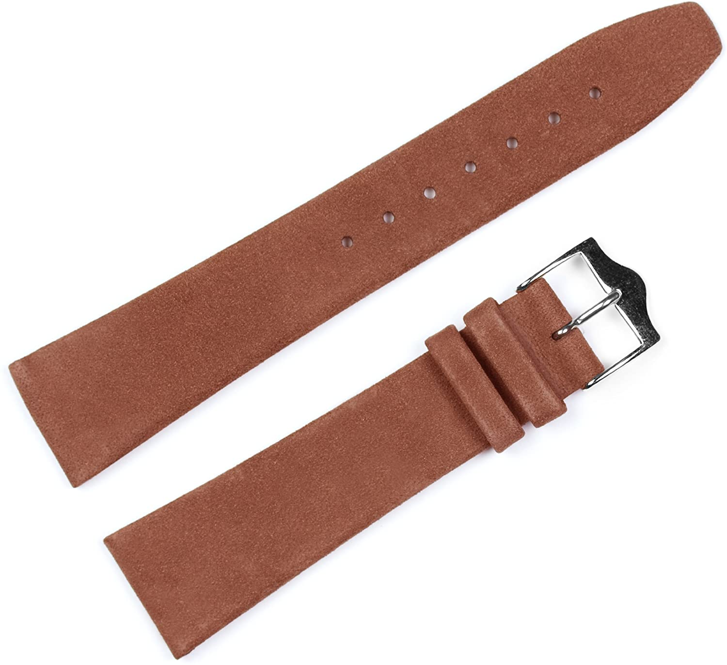 Suede Leather Watch Band - Choice of Color - (Black or Havana) & Width - (12, 14, 16, 17, 18, 19, or 20mm)