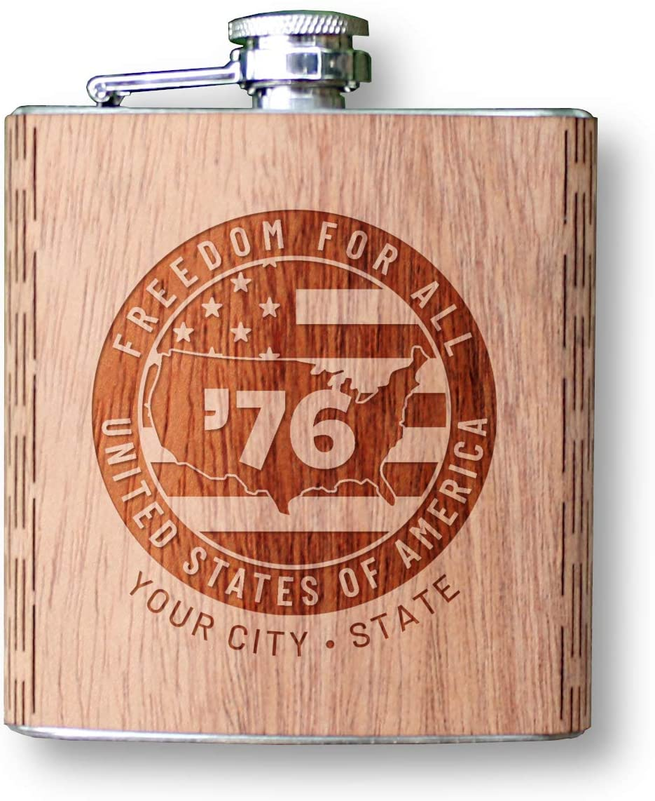 Wooden Hip Flask 6 oz. - Freedom 76 Collection, 15 - Freedom Patch Design in Mahogany (Customized with your City & State) by WUDN