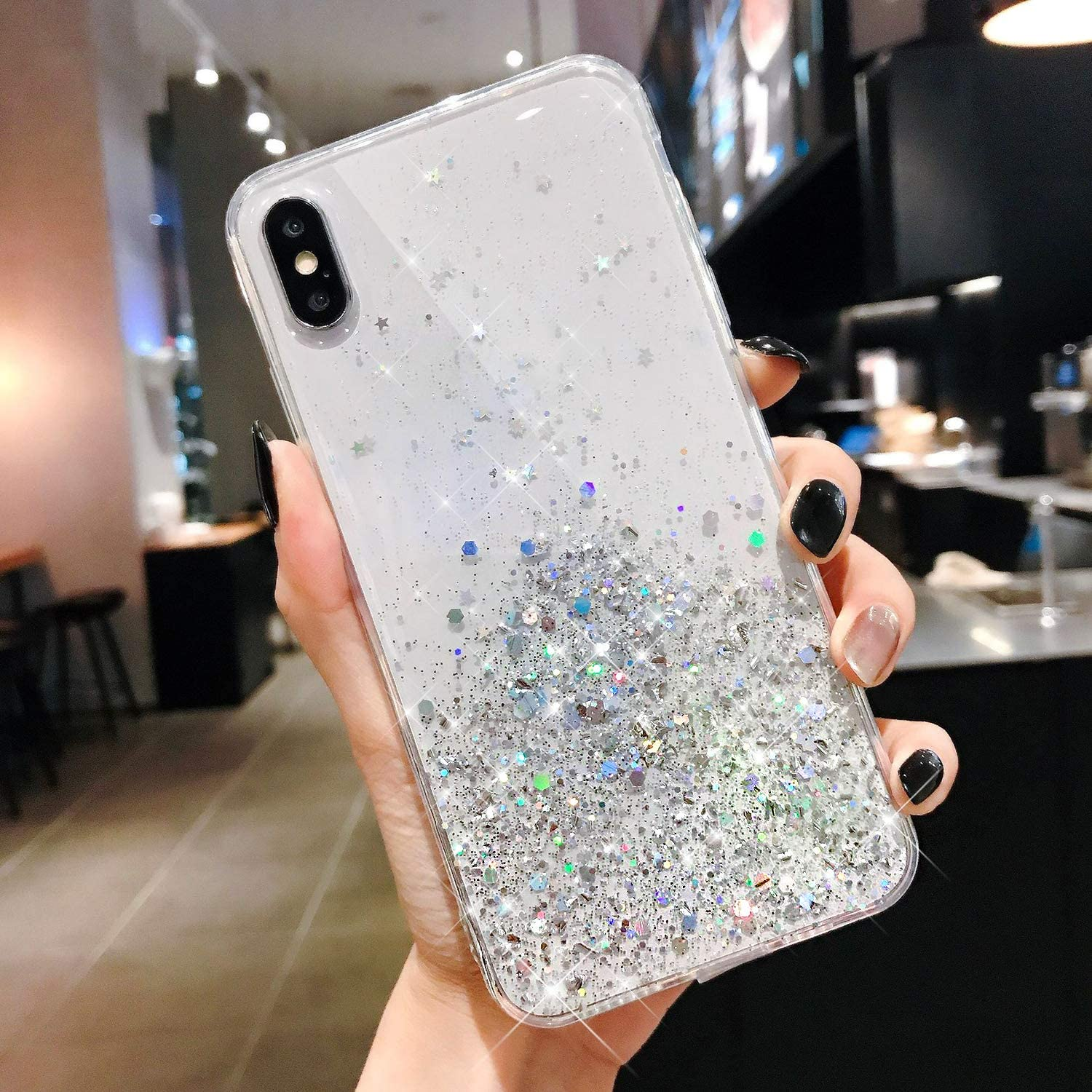Case for iPhone XS/X Glitter Case,Clear Bling Glitter Slim TPU Rubber Gel Skin Stars Space Case Cover Sparkle Shiny Crystal Phone Cover Bumper Case for iPhone XS/X Case for Girl Women,Clear