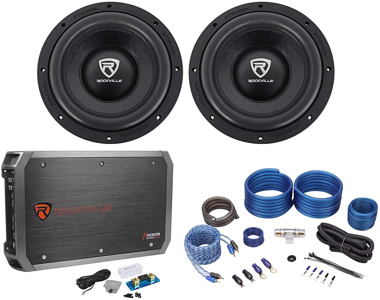 (2) Rockville W10K6D4 V2 10 4000w Car Audio Subwoofers+Mono Amplifier+Amp Kit