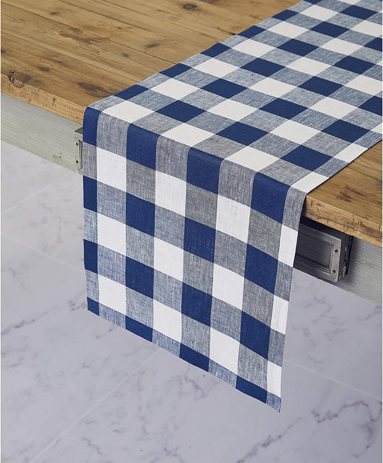 Solino Home 100% Pure Linen Buffalo Check Table Runner – 14 x 72 Inch Blue & White Checks Table Runner Natural Fabric Handcrafted from European Flax