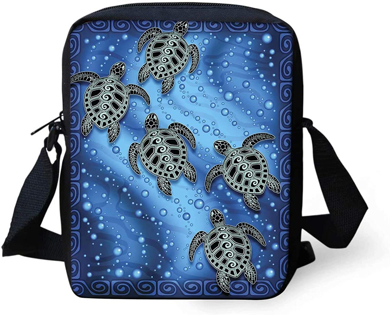 Snilety Mini Messenger Bag for Men Women Tribal Sea Turtle Pattern Small Shoulder Handbags Satchel Travel Purse Wallet for Women Girls Blue