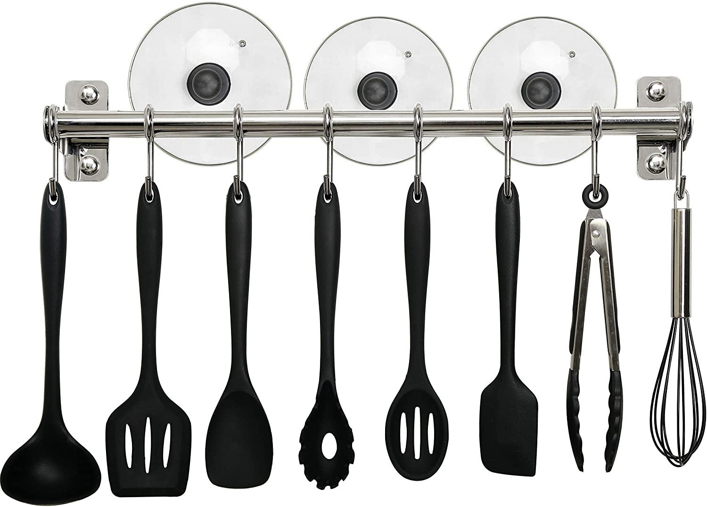 WEBI Utensil Rack Wall Mount,Kitchen Rail with 8 Sliding Hooks,Utensil Hanger Pot Rod for Hanging Kitchen Tools,Towel,Pan,Chromed