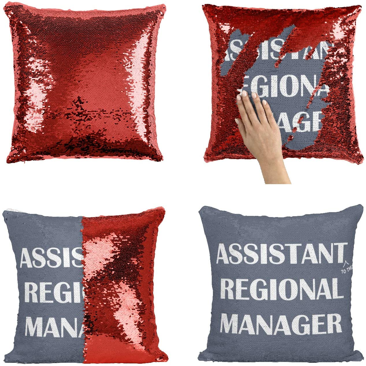 Office The Tv Show Assistant Regional Manager Quote_MA0000 Sequin Pillow Pillowcase, Funny Throw Covers, Sequins Pillows, Weird Stuff, Unicorn, Flip Mermaid Scales Reversible (Cover Only)
