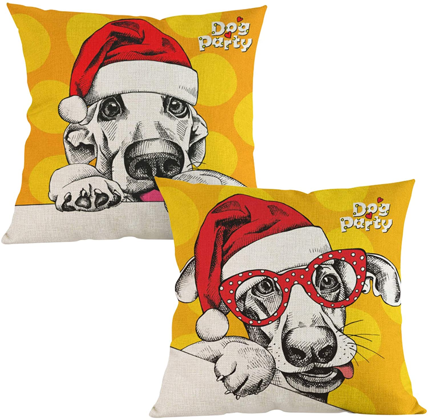 FYY Christmas Decorative Square Throw Pillow Covers, Set of 2 Cozy Zippered Cushion Cases Christmas Series Pillowcase for Couch, Bed, Car&Home Decor 18 x 18 Inch