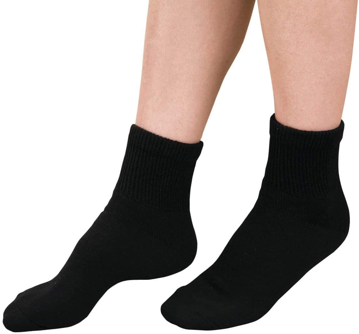 Diabetic Ankle Socks - 3 Pack, Large, Black