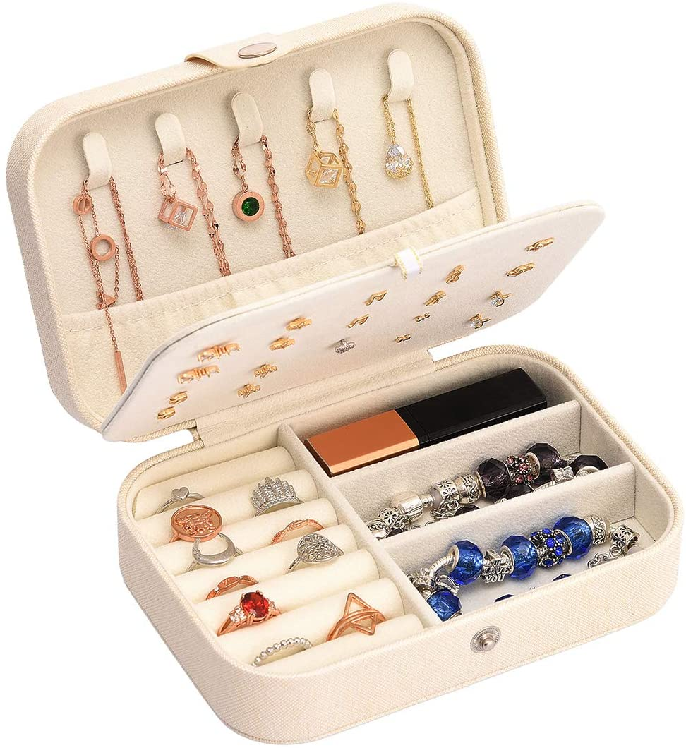 Jewelry Box for Women Earring Necklace Travel Jewelry Organizer Storage Doubel Layer Synthetic Leather Gift Small Girls Jewelry Case