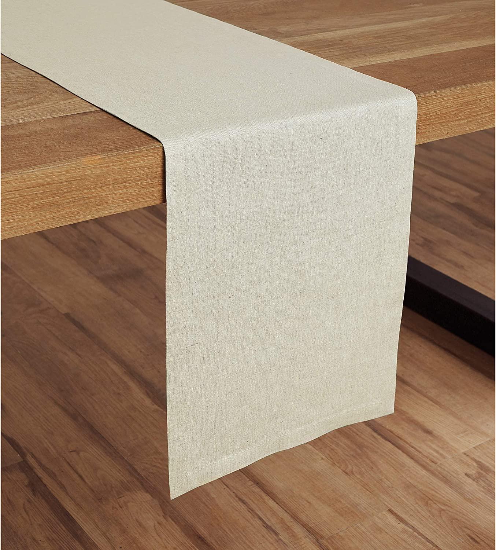 Solino Home Medium Weight Linen Table Runner - 100% Pure Linen - 14 x 72 Inch, Light Natural