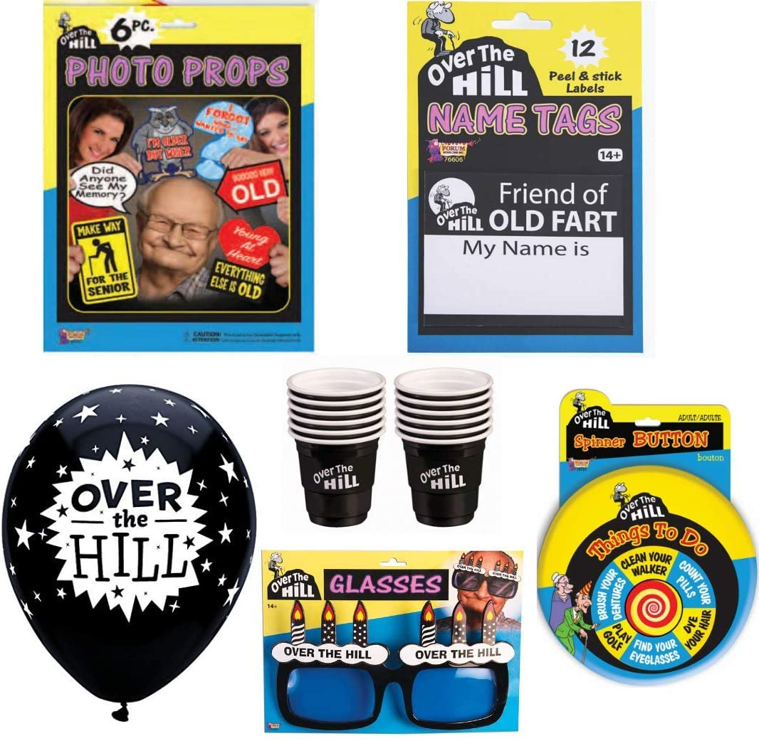 Over The Hill Party Supplies Pack - 40th 50th 60th Birthday Decorations and Accessories Kit for 24