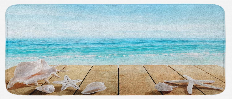 Ambesonne Seashells Kitchen Mat, Wooden Boardwald with Seashells Sunshine Vacations Beach Theme, Plush Decorative Kitchen Mat with Non Slip Backing, 47