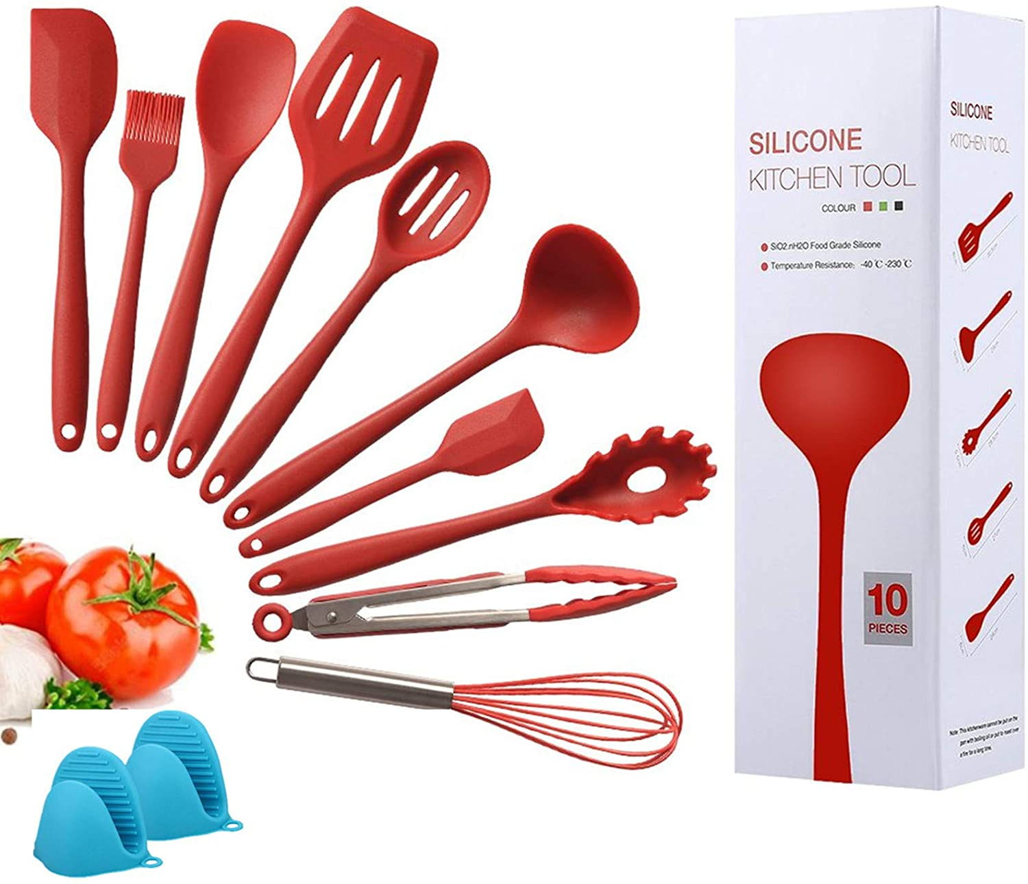 Kitchen Silicone Heat Resistant Cooking Utensil Set 12 Piece,Food Clip Grill Brush Soup Spoon Whisk Scraper Shovel Egg Blender Non Stick Tools Set Environmental Protection Oven Mitts
