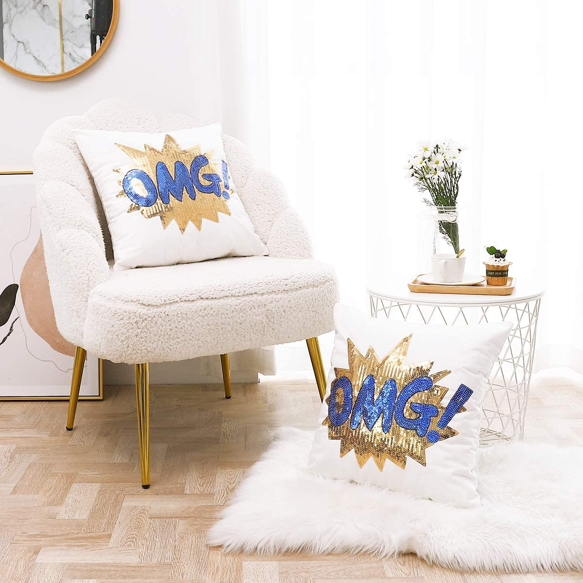 Decorative Throw Pillow Covers 18x18 Inches Set of 2, Christmas decor Cotton Pillowcases, Sequins Embroidered OMG Pattern Cushion Case for Couch, Bedroom, and Living room Party, (Golden and Blue)