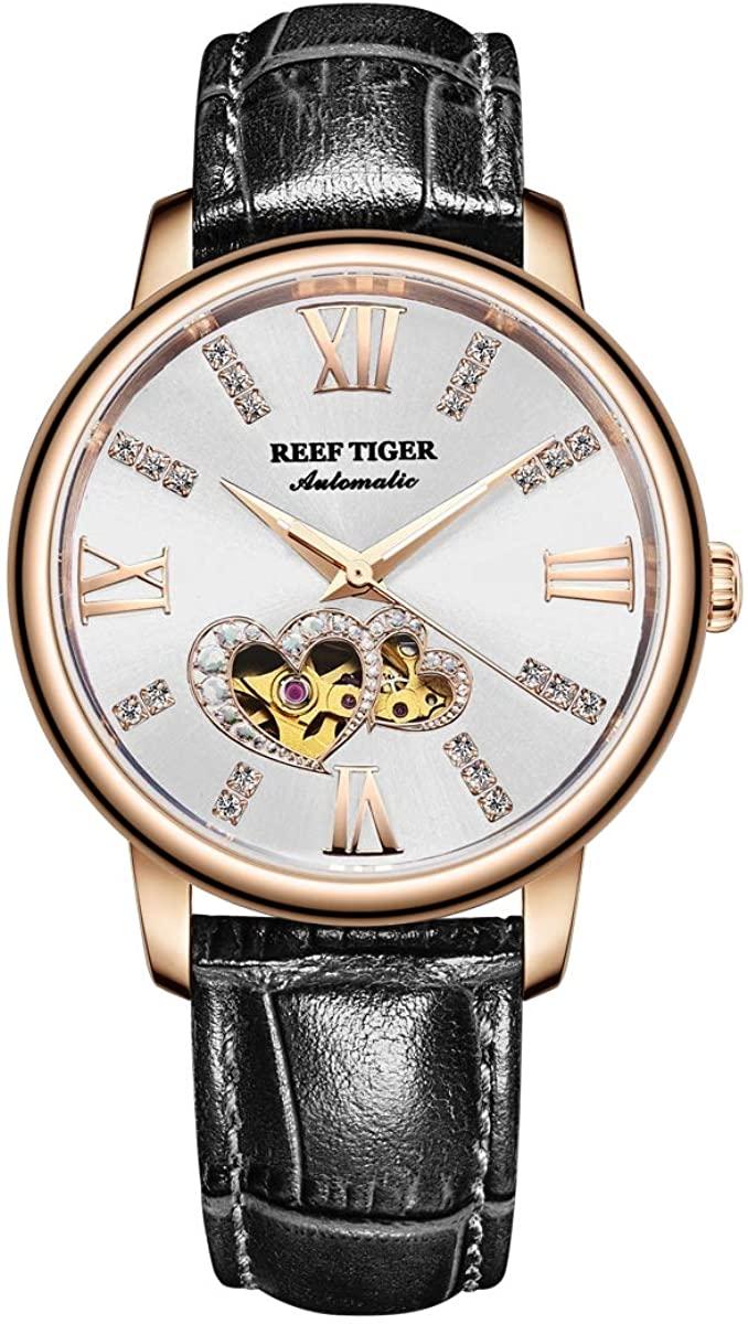 Reef Tiger Luxury Brand Ladies Watch Waterproof Leather Band Automatic Women Diamond Watches RGA1580