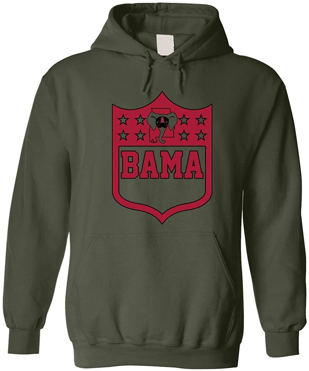 America's Finest Apparel Alabama Shield Hoodie (Medium, Military Green)