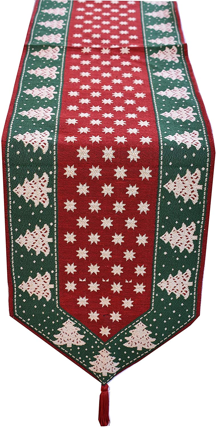 Fabstyles Christmas Table Runners Traditional Tapestry Design, Decorations for Seasonal Family Dinners or Holiday Gatherings Xmas Party & Everyday Use (Stars (Red/Green), 13X54)