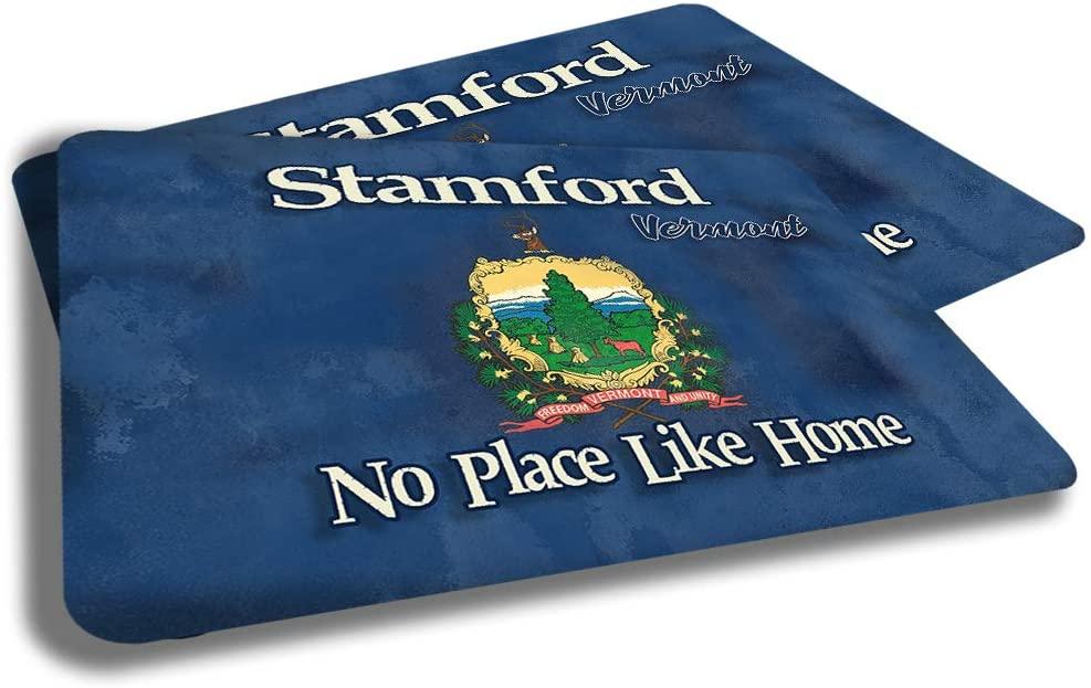 Brotherhood Stamford Vermont State Flag Cities Towns Door Mat Souvenir Gift Design Rubber Grip Non Skid Backing Rug Indoor Entryway Door Rugs Mats Pack of 2