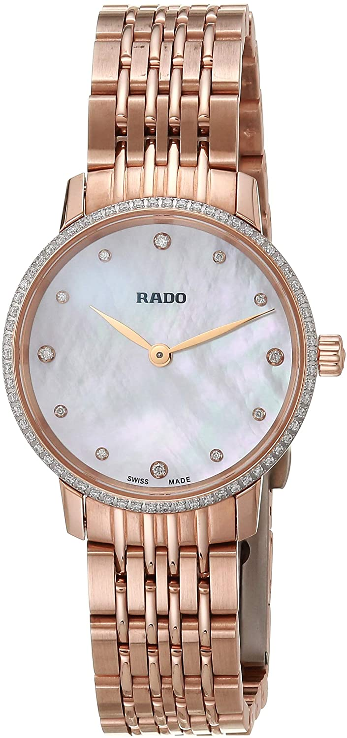Rado Women's Coupole Classic Quartz Watch with Stainless Steel Strap, Gold, 18 (Model: R22896924)