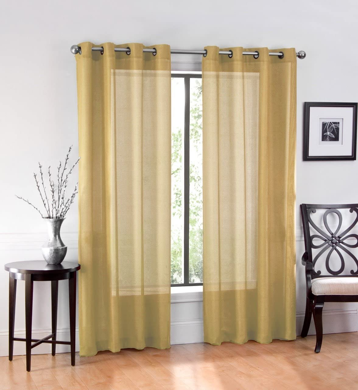 Ruthys Textile 2 Piece Window Sheer Curtains Grommet Panels 54 X 95 Total 108 X 95 Inch Length for Kitchen,Bedroom/Living Room Color: Gold