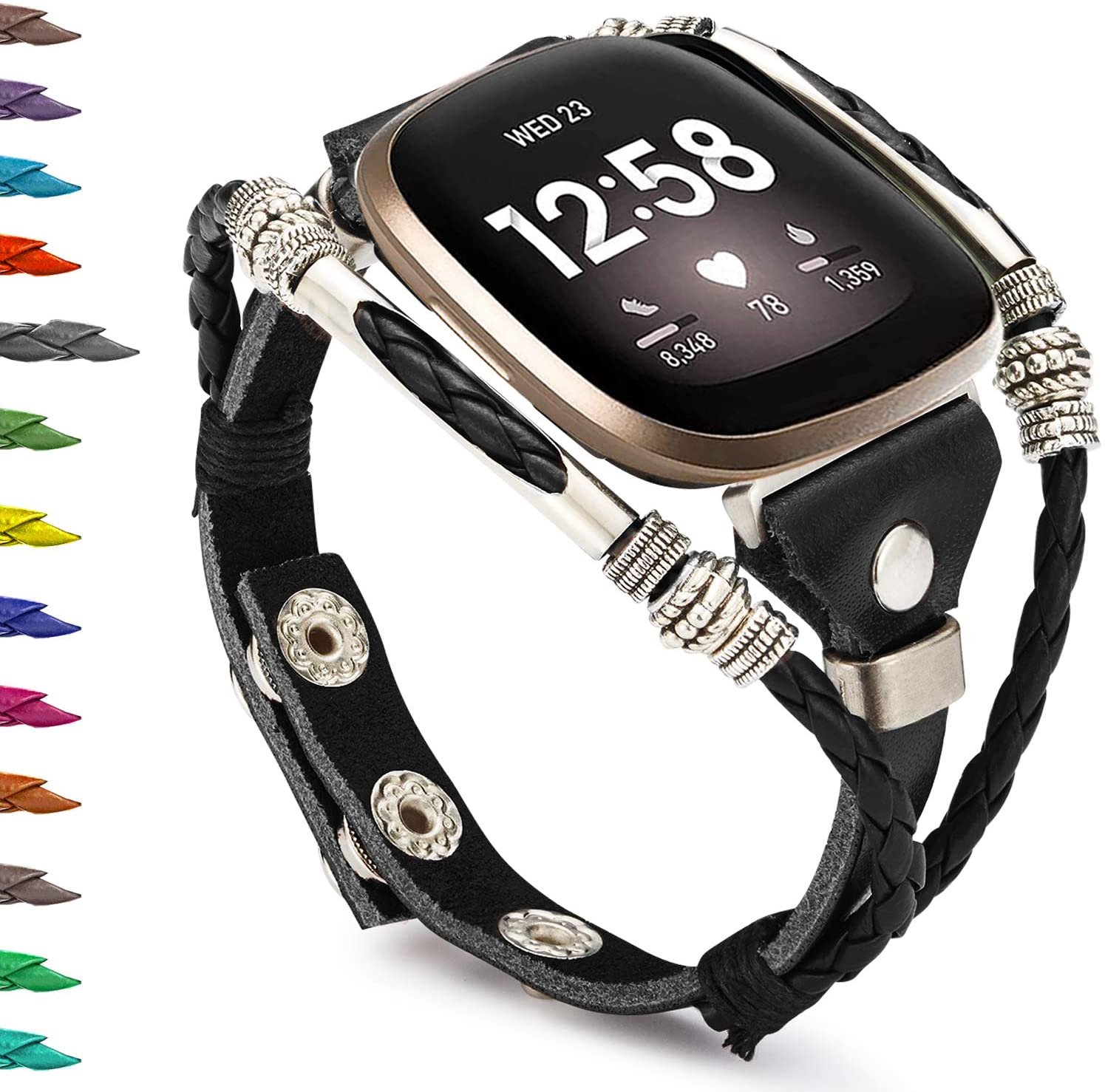 Compatible with Fitbit Sense/Fitbit Versa 3 Bands for Women, Marval.P Handmade Leather Band, Replacement Unique Bracelet Strap, Wristbands Adjustable Size, Fashion Wrist Band Straps