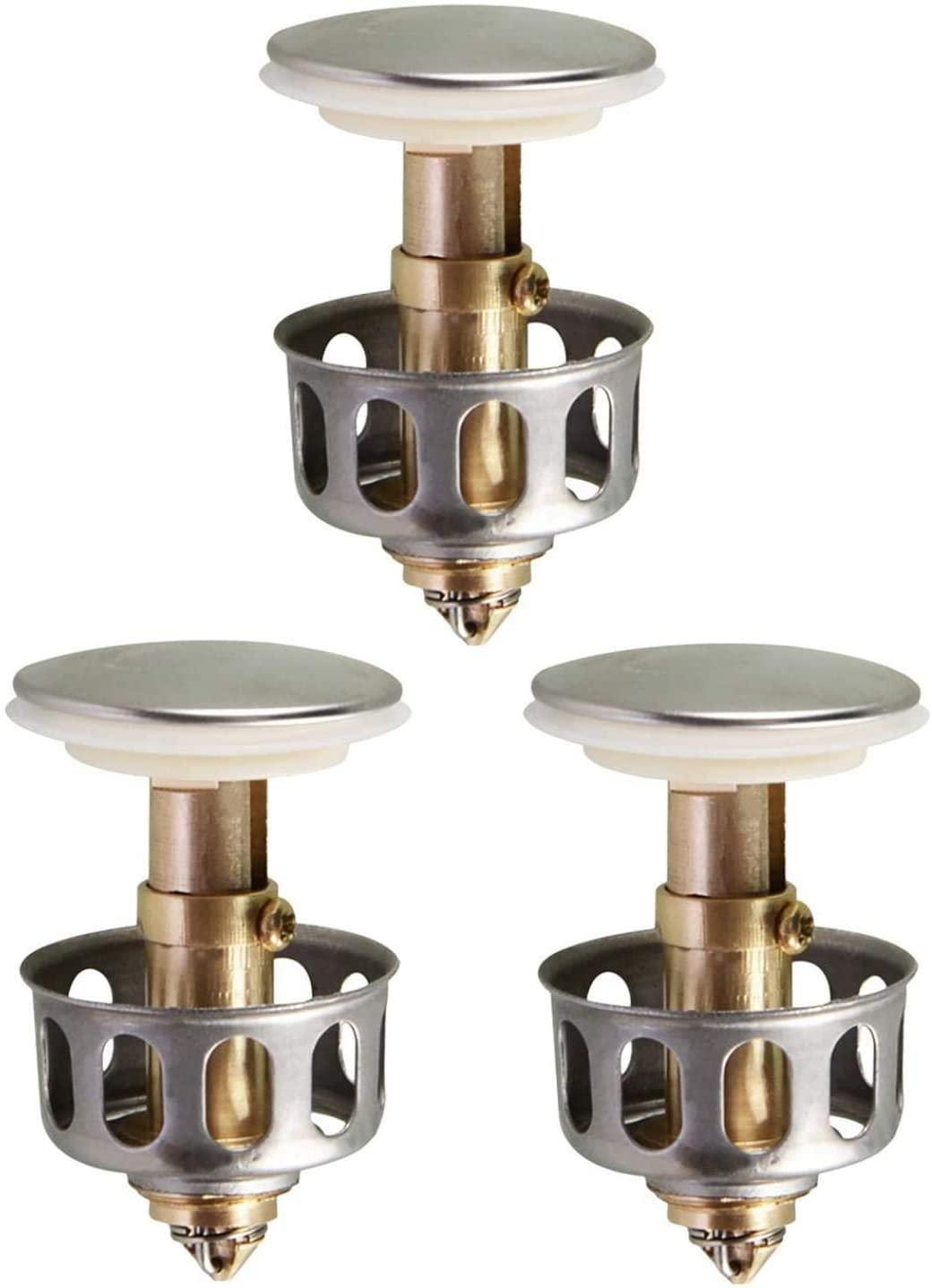 SAINGACE Universal Wash Basin Pop Up Drain, Bounce Bathroom Sink Drain Plug with Basket, Universal Kitchen Bathroom Strainer Sink Drain Stopper Pop Up Plugs 1.38'' Diameter (3 Pcs)