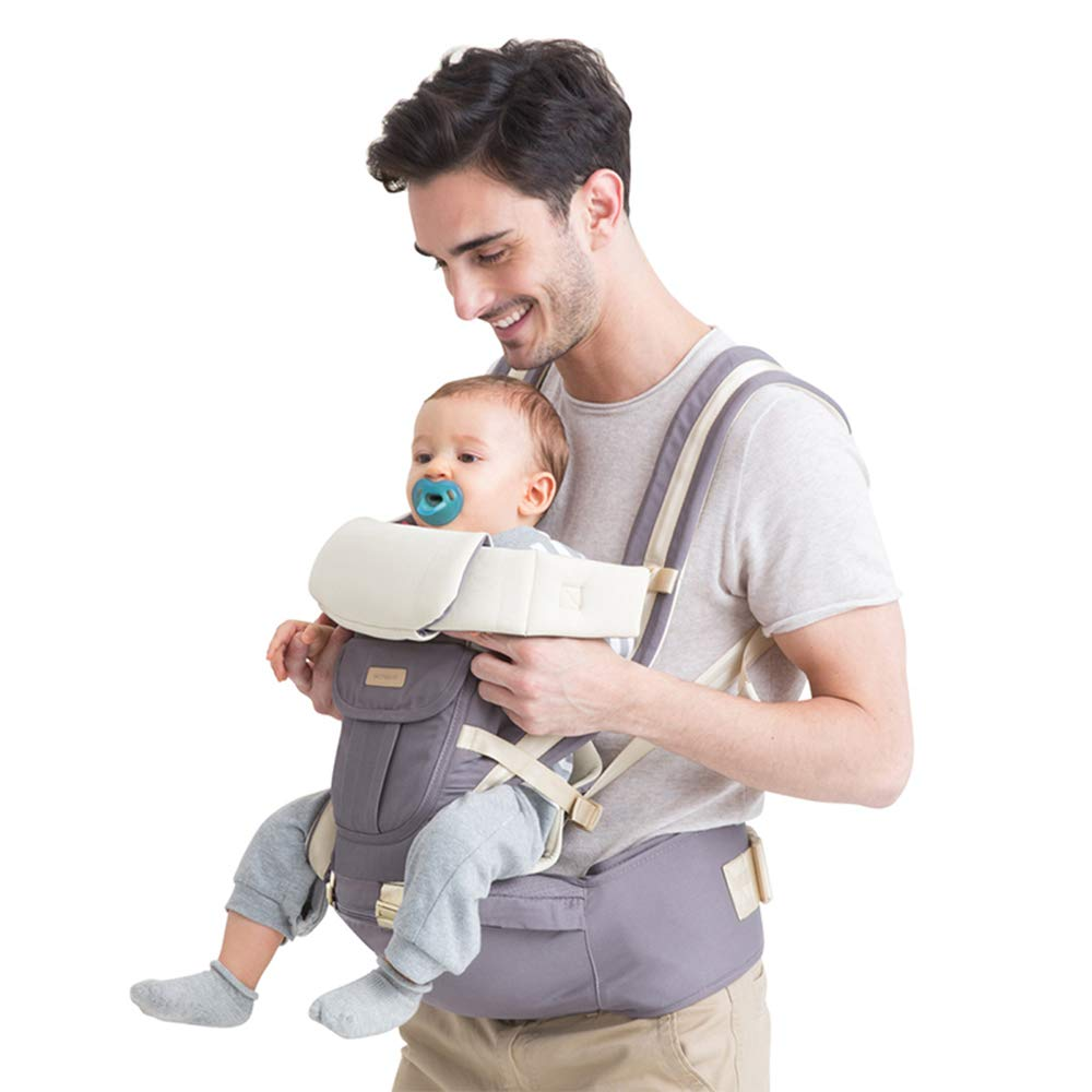 Baby Carrier Backpack, Multifunciton Adjustable 6-in-1 Infant Carrier with Hip Seat, Waist Stool, One Size Fit All Season Perfect for Newborn, Infant and Toddler, Grey