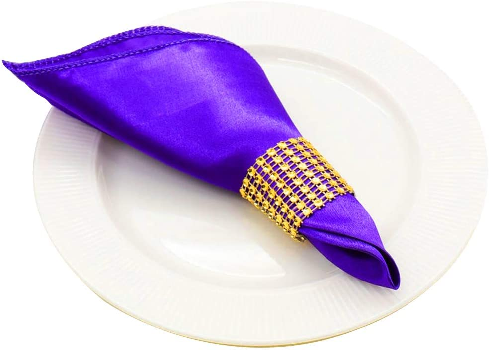 50 Pack 18 x 18 Inch Satin Napkins & 50 Rhinestone Napkin Rings, Party Supplies Christmas Decorations Wedding Birthday Baby Shower (Purple)