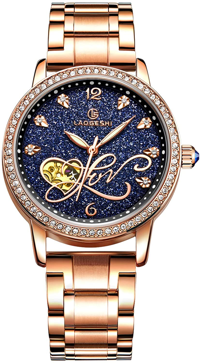 RORIOS Women Automatic Mechanical Watch Shining Starry Sky Luminous Simulated Diamond Dial Stainless Steel Strap Ladies Wristwatches