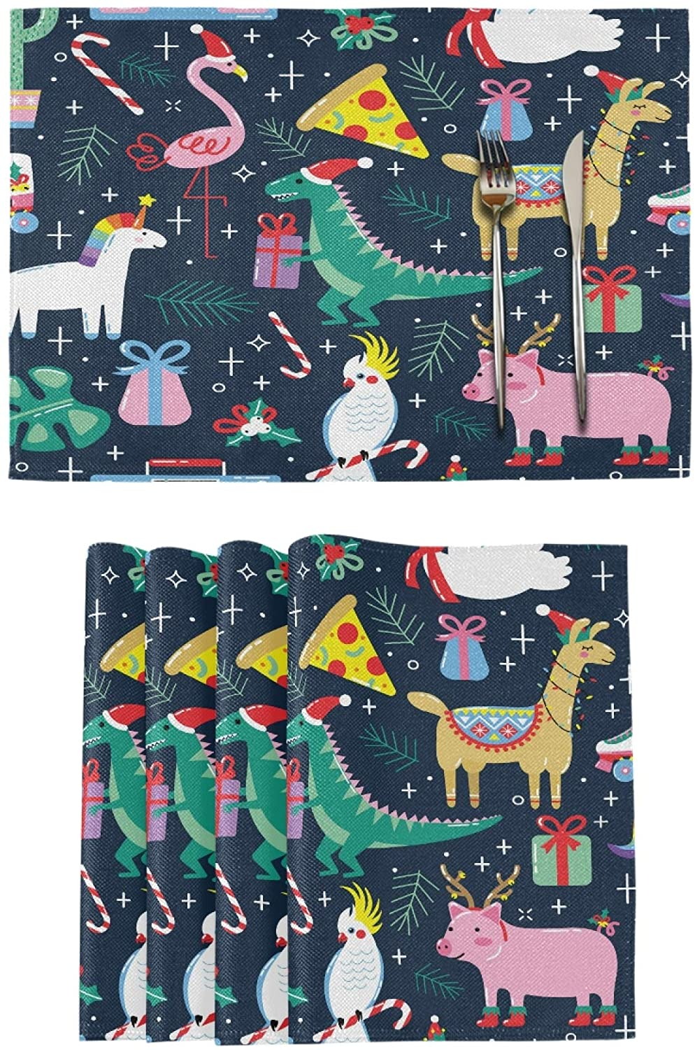 Place Mats for Dining Table Double Sided Printed Kitchen Holiday Kids Neat Placemats Fall Home Decor Set of 4 12x18 Christmas Cute Funny Animals