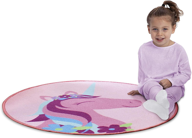 Delta Children Non-Slip Area Rug for Girls, Unicorn