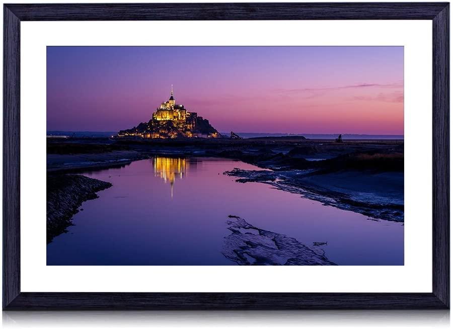 Mont Saint-Michel, France - World- #25850 - Art Print Black Wood Framed Wall Art Picture (20x14 inches Framed)