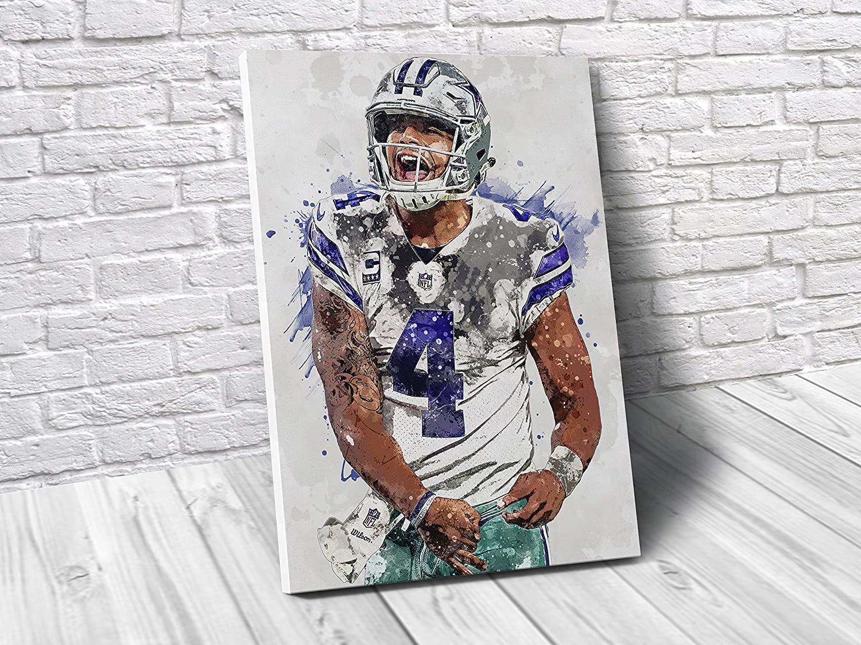 TopShelfPrints Dak Prescott Dallas Cowboys Poster/Canvas Print - Football Artwork - Kids Room Wall Decor - Man Cave - Sports Decor - Birthday Gift Idea