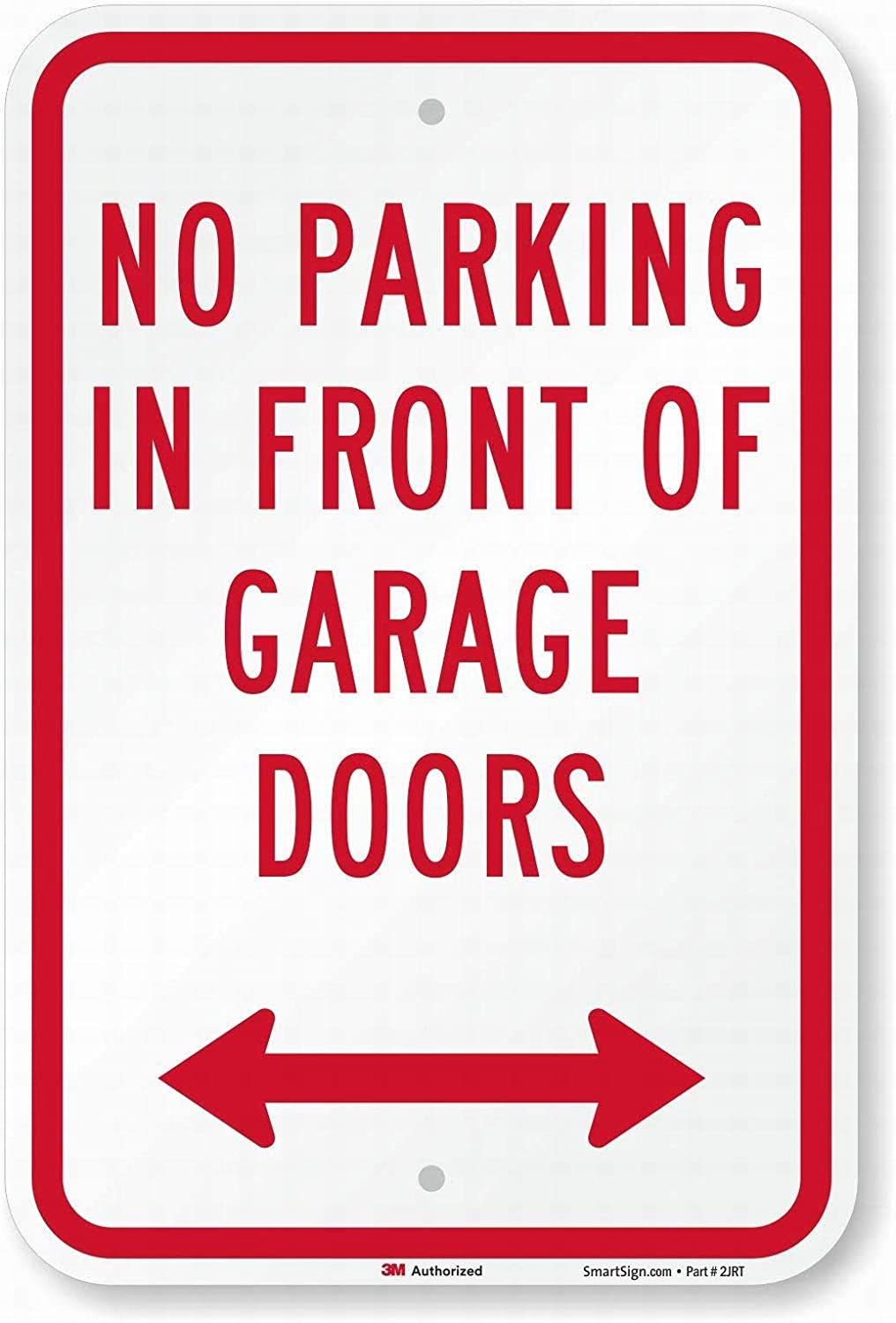 PaBoe No Parking in Front of Garage Doors Sign with Bidirectional Arrow Safety Sign 8x12 Tin Metal Signs Road Street Notice Sign Outdoor Decor Caution Signs