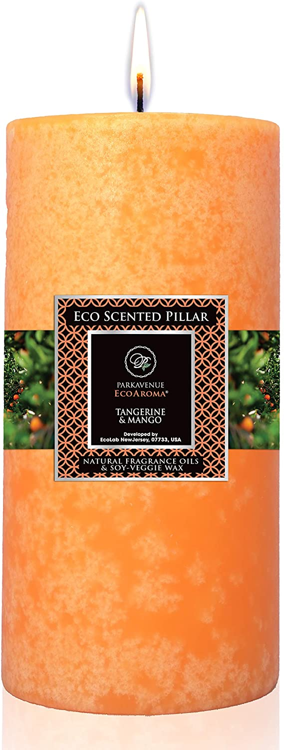 Eco Aroma Coco-Soy Candles, Tangerine Mango Essential Oils Orange Scented Pillar Candles, 3 x 6 inch Long Lasting Candles for Home Decorations, 100% Naturals Coconut Soy Wax Blend
