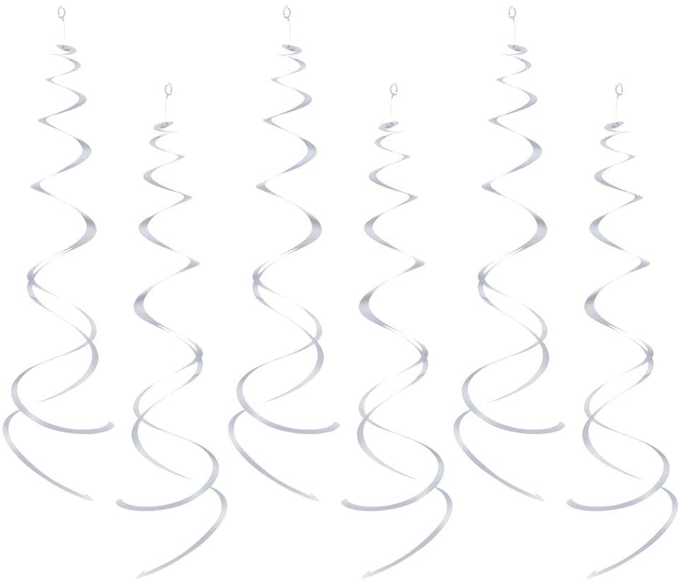 AimtoHome Party Swirl Decorations, White Foil Ceiling Hanging Swirl Decoration, Whirls Decorations for Birthday | Wedding | Anniversary | Graduation Party Supplies, Pack of 30