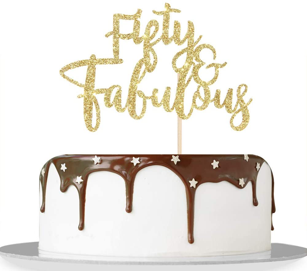 Gold Glitter Fifty & Fabulous Cake Topper for Cheers to 50 Years/Girl Boy's 50th Anniversary Birthday Party Decorations Supplies