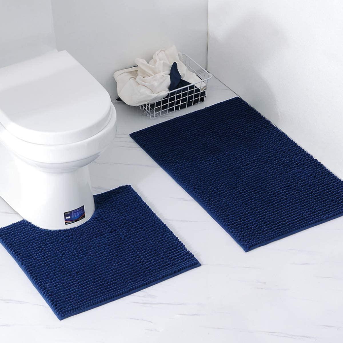 Bathroom Rugs Chenille 2-Piece Bath Mat Set, Soft Plush Anti-Slip Bath Rug +Toilet Rugs for Bathroom U Shaped Washable Microfiber Shaggy Carpet(Curved Set) (20X31inch+20x20inch U Type, Navy Blue)