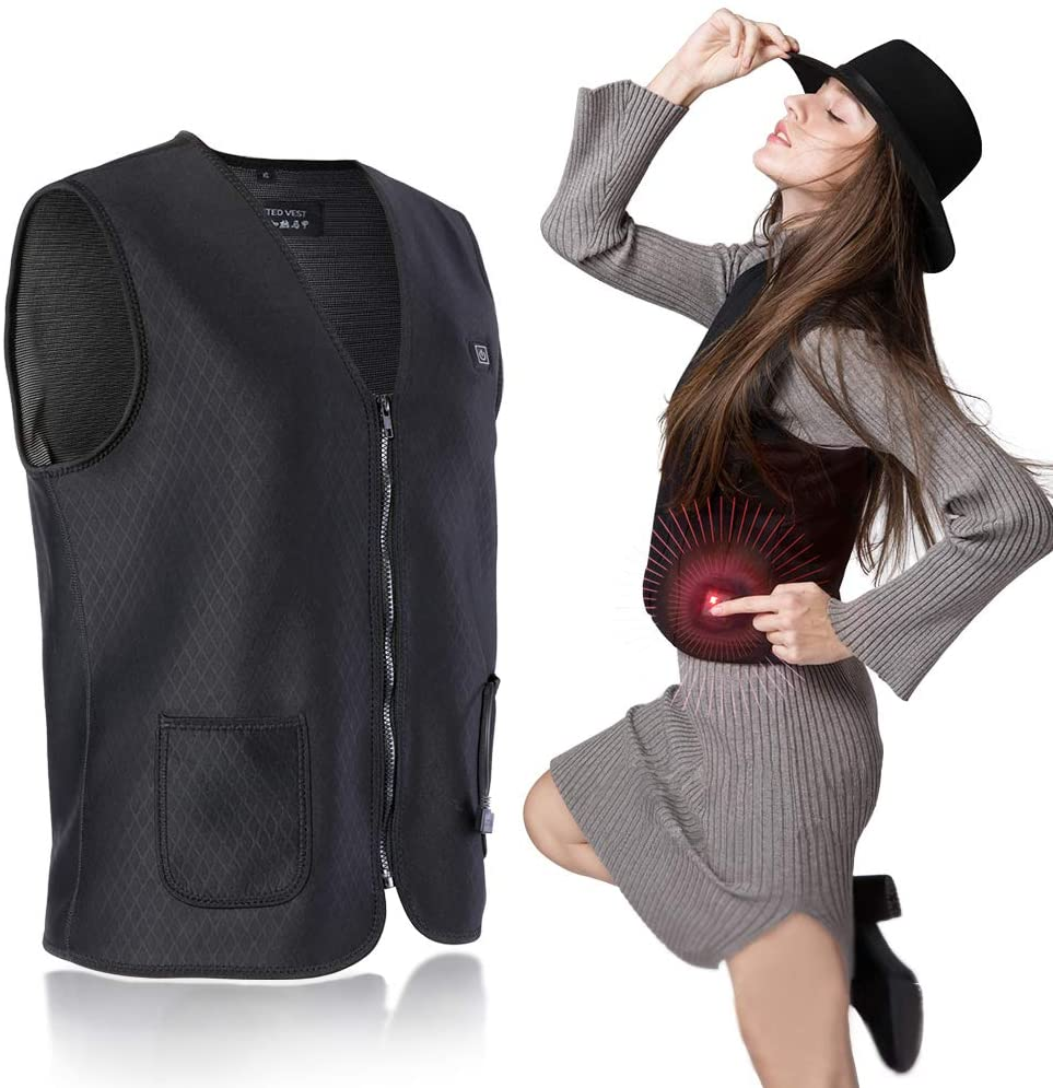 Dilwe Heated Vest, USB Rechargeable Battery Electric Vest with Magnetic Therapy for Pain Relief Rheumatism Moisture Absorption Therapy Kidney Protection XXL