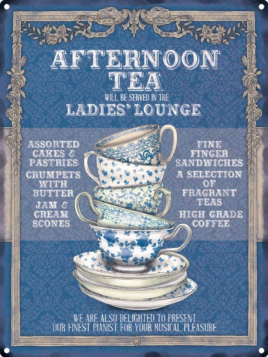 HomDeo Vintage Metal Signs Ladies Lounge, Afternoon Tea Tin Sign 12
