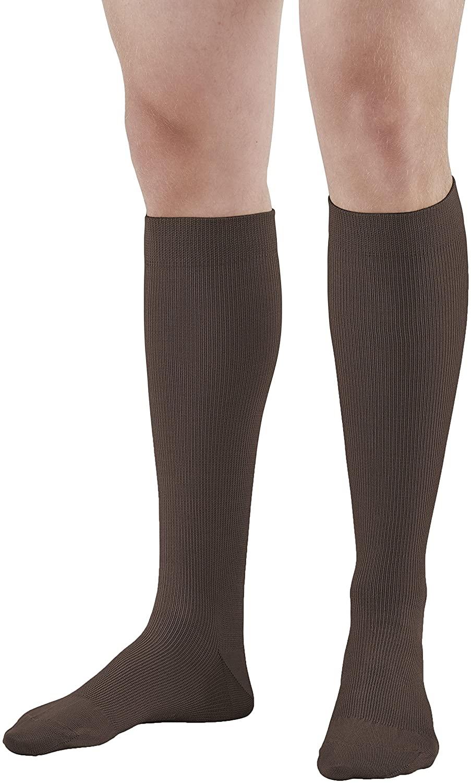 Ames Walker AW Style 111 Cotton Firm 20 30mmHg Knee High Socks Brown Medium