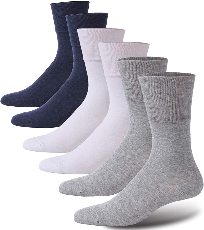 Forcool Diabetic Socks for Women, Men's Non Binding Loose Top Diabetes Socks Crew Dress Cotton Edema Neuropathy Circulation Cushion Socks, Medium, 2 Pairs Gray&2 Pairs White&2 Pairs Navy Blue