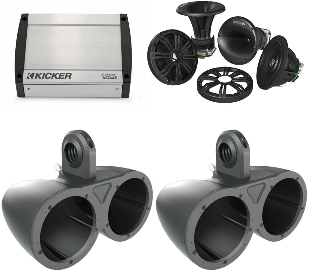 KICKER Wake Tower System 12KMTED w/ 6.75 41KMS674C Speakers and 40KXM4002 Amp