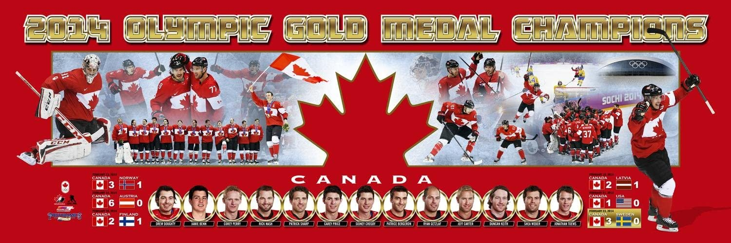 SportPicturesOnline NHL Hockey Team Canada 2014 Winter Olympics Gold Medal Winner - 12x36 Panoramic Photo. Frame Dimensions 15.5 x41 Deluxe Double Matt & Brown Mahogany Wood Frame w/Plexi Glass #4001